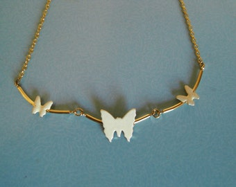 White enamel butterfly necklace