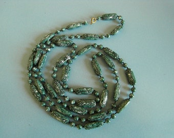 Vintage green Egyptian revival bead necklace