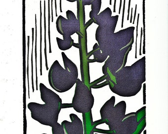 "Linocut Print of Lupine Flower Closeup - ""Lupines"""