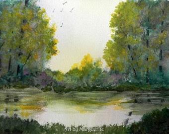 Original Watercolor Lake and Forest Scene