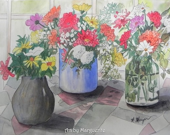 Original Watercolor Floral Still Life 18x24 inches