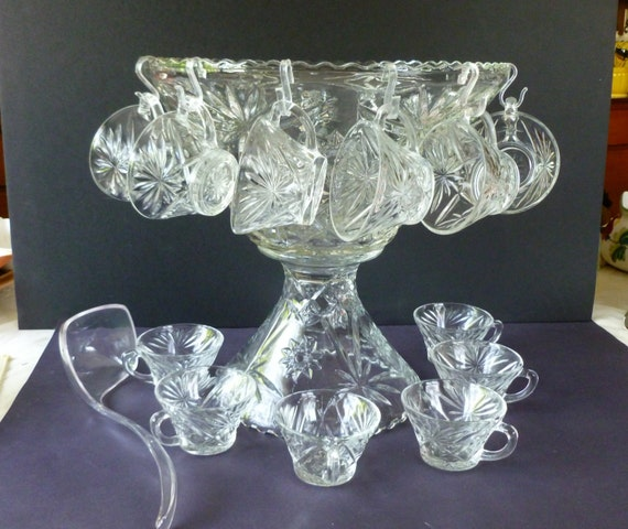 vintage crystal cut glass punch bowl set 27 pieces by anchor. Black Bedroom Furniture Sets. Home Design Ideas