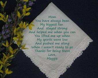 Personalized Wedding Handkerchief from Bride to  Mom 557p