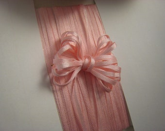 Silk Ribbon Trim - Light Pink - 2mm or 4mm wide  -3 yards -