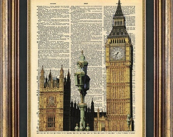 BIg BEN London Dictionary page art Book Page art Print