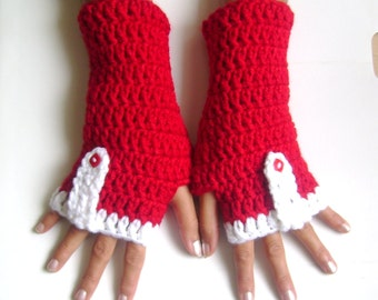 Fingerless gloves  red white  gloves cozy gloves wool gloves free shipping