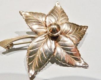 S.Christian Foch Denmark vintage, mid century, 1950s Scandinavian sterling silver. leaf brooch.