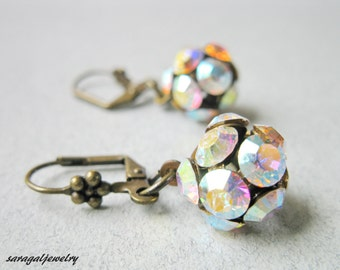 Wedding jewelry, Crystal Ball Bridal Earrings, Vintage Earrings, Bridesmaid Earrings,Woman jewelry, Mom/Sister jewelry,Grandmother gift/