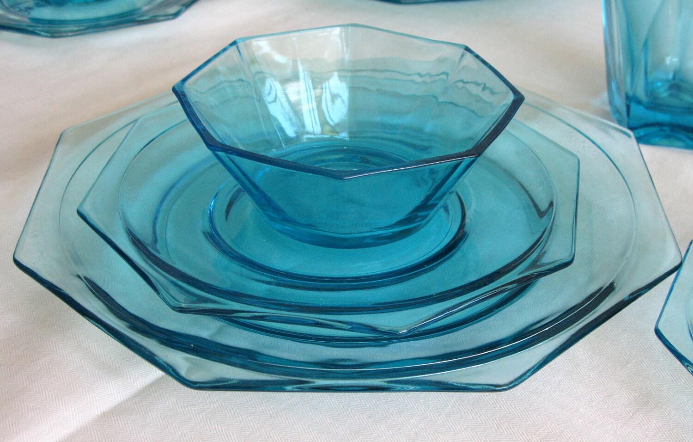 Vintage aqua blue depression glass 4 full serving sets for Most valuable depression glass patterns