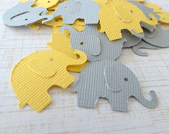 Elephant Confetti, Baby Shower Decorations, Gender Neutral Baby Shower, Yellow and Gray Elephant Die Cut, Shower Ideas, Set of 100