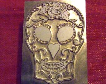 "Letterpress Print Block ""Comedy"" Sugar skull"" - Letterpress Blocks - Print Blocks - Mounted Letterpress Block"