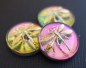 Czech Glass Cabochon Pink-Green Vitrail, Gold Dragonfly size 8, 18mm 1 pc (BUT15020/8)