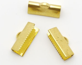 6x15mm Crimp Pinch Ribbon Blank Gold Tone 10pieces package-