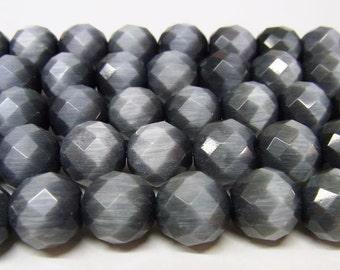 Cat Eye Beads 8mm Round Cut Grey Black 15''L Semiprecious Gemstone Bead Wholesale Beads Supply