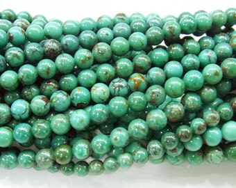 4mm Round Turquoise Beads Genuine Natural AB Grade- 4245- 15''L 38cm Loose Beads Semiprecious Gemstone Bead   Supply