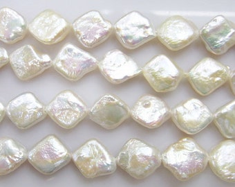10mm Rhombus White Freshwater Pearl 15 inches length, 38 cm-