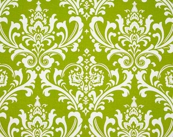 1/2 Yard Fabric- Premier Prints Ozborne- Chartreuse Green and White Damask- Elegant Cotton Fabric- Wedding Textiles- Lime Green Home Decor