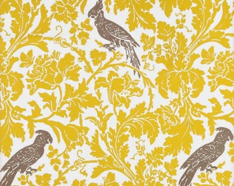1/2 Yard Fabric- Premier Prints Barber- Corn Yellow/Kelp Slub Bird- FAST SHIPPING- Nursery Fabric- Woodland Decor- Upholstery Fabric