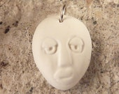 Funky, cute jewelry / white with silver polymer clay pendant