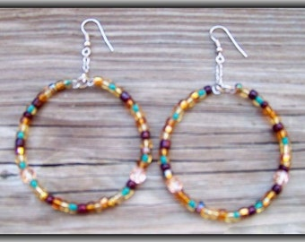 Autumn Color Hoop Earrings