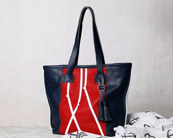 Blue / red leather tote bag. Nautical leather tote.  Navy blue red leather purse. Summer leather shoulder bag
