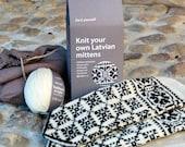 Latvian Mitten DIY Knitting Kit Black and White