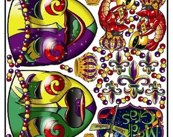 Mardi Gras Graphic Kit - reusable decal sticker decorations