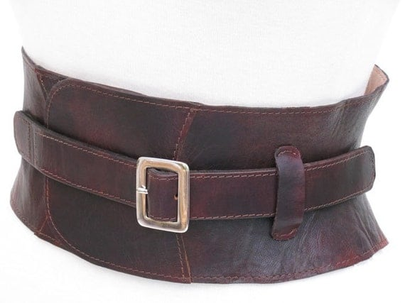 corset belt leather cincher made moulded brown leather