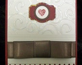 Red Heart and Brown Ribbon Wedding or Valentines Day Card