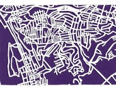 Greenfield/Hazelwood Pittsburgh -- cut paper map (original)
