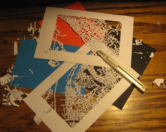 cut paper map of YOUR neighborhood (5x7)