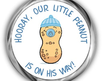 Peanut Baby Shower Hershey Kisses Stickers - Little Peanut Boy and Girl Kiss Favors