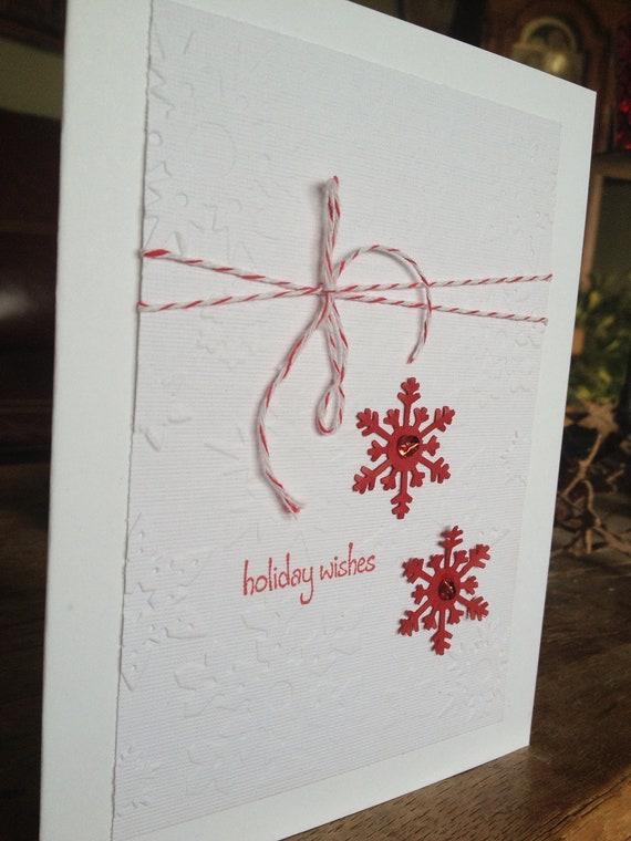 Items similar to embossed handmade christmas card for Elegant homemade christmas cards