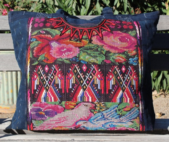 Mexican hand embroidered bag flowers and birds multipurpose