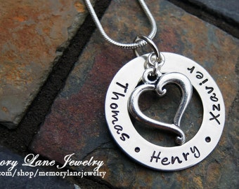 Washer Style with Sterling Silver Heart Charm