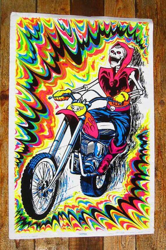 Vintage Original 70s LG Skeleton Biker on Chopper Motorcycle