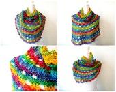 Rainbow Ponchette crochet pdf pattern INSTANT DOWNLOAD