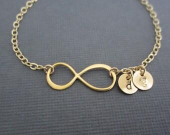 Infinity Bracelet. 24K Gold Vermeil Infinity. Personalized Gold Filled Jewelry. 2 Initial Bracelet. Bridesmaid Jewelry. Friendship Bracelet