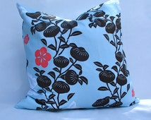 18x18 Pillow Cover, Blue/brown/coral Pillow Cover, Two Modern Pillow Cover, 18x18 Pillow Cover with zipper, Throw Pillow