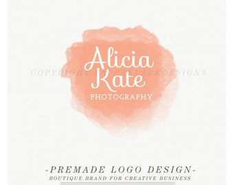 Photography Logo Design - Custom Pre-made watercolor logo -TL001