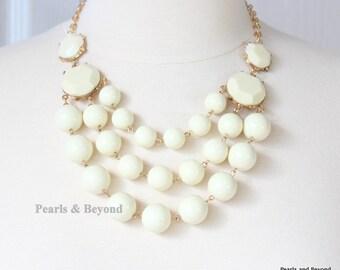 Multi Strand Bubble Necklace  Statement Necklace Bib Necklace Ivory