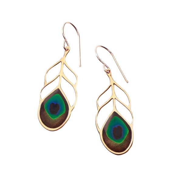 Peacock Feather Earrings - Handcrafted Gold Jewelry for Women - Millefiori Gift Ideas for Her - FREE SHIPPING
