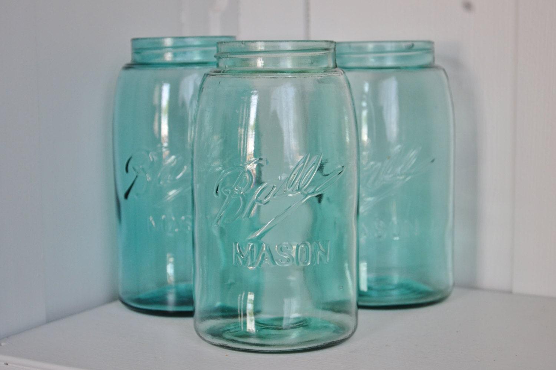 vintage blue ball 3l mason jars triple l shabby wedding. Black Bedroom Furniture Sets. Home Design Ideas