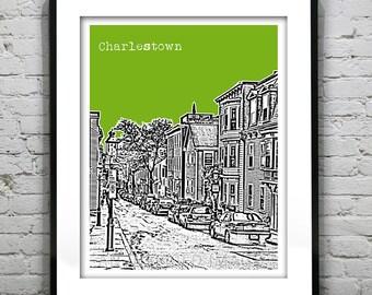 Charlestown Boston Massachusetts Skyline Poster Art Print MA