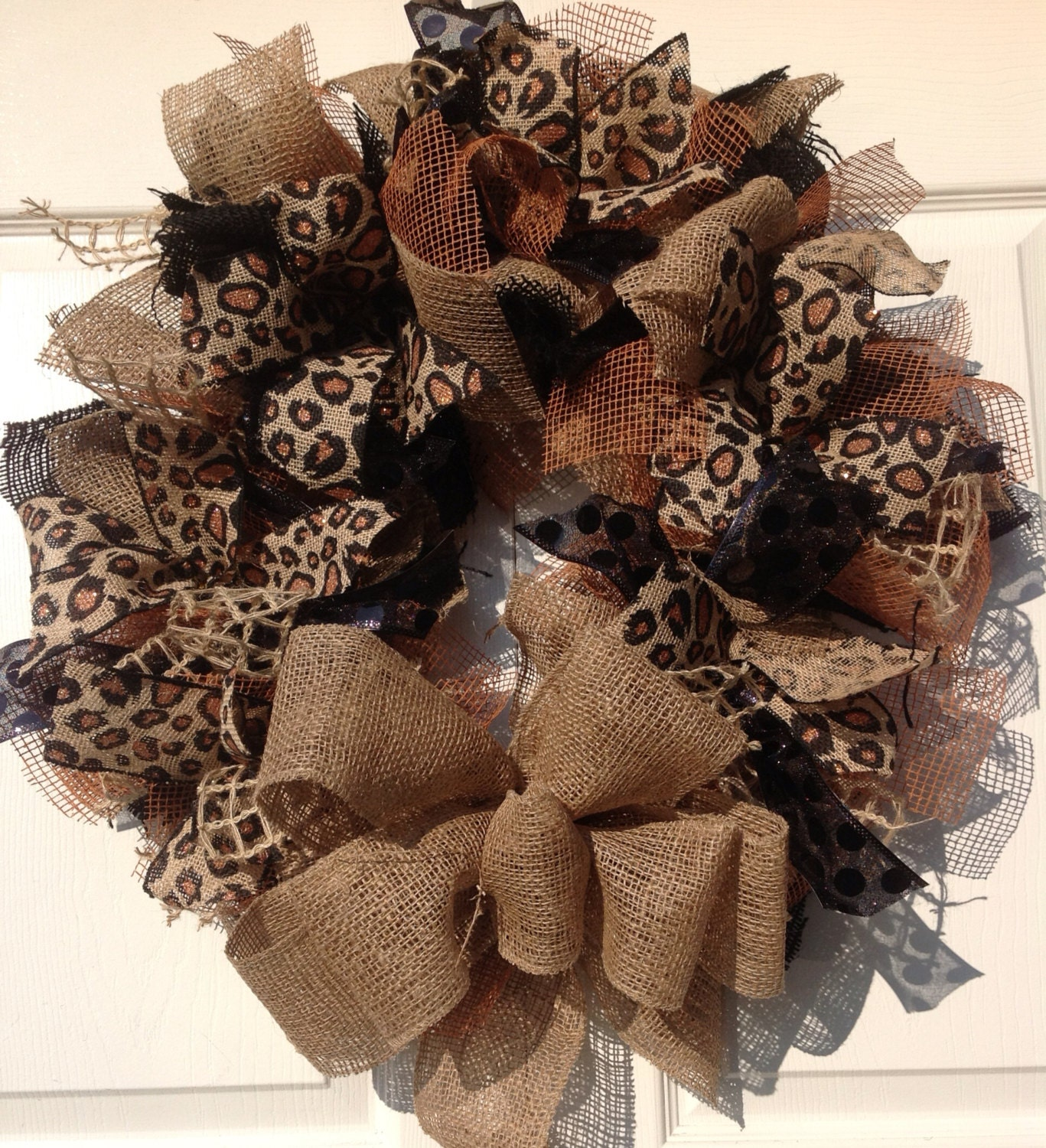 Leopard Black And Natural Burlap Wreath With Rust Accents