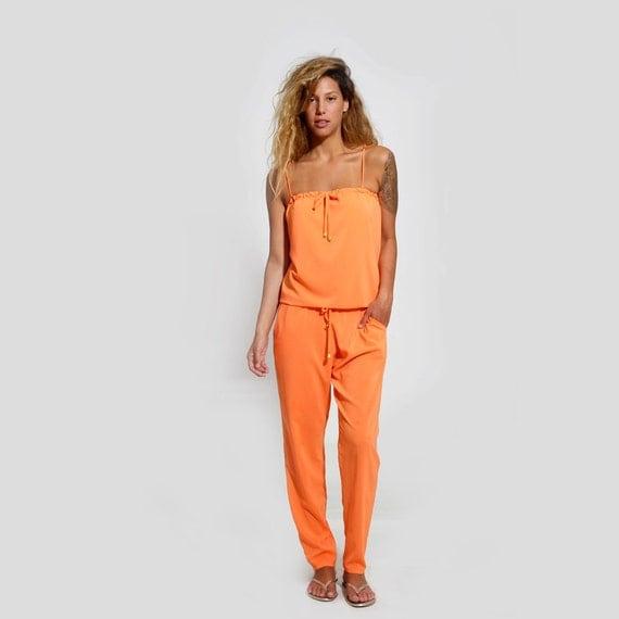 Women Jumpsuit Orange Romper Strapless Romper Sexy