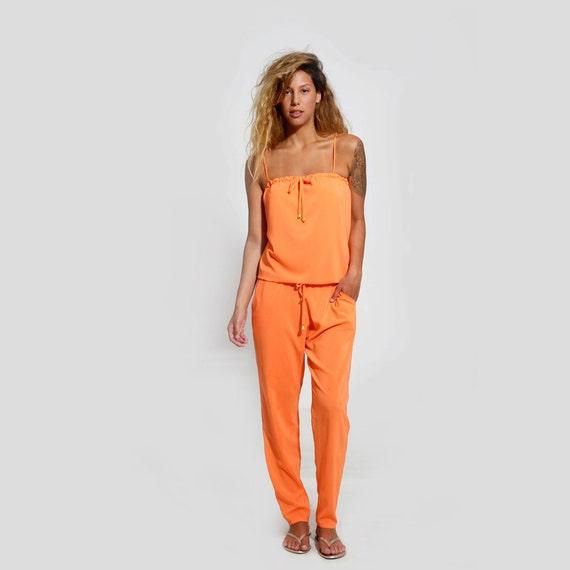 Women Jumpsuit Orange Romper Strapless Romper Sexy