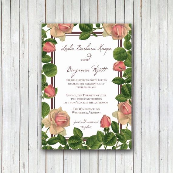 items similar to secret garden wedding invitation diy pdf printable roses etsy