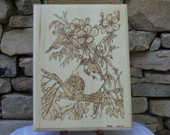 Hummingbird Family Woodburning Pyrography