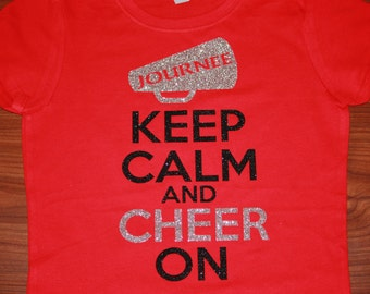 Girls Keep Calm and Cheer On Personalized Glitter Shirt.